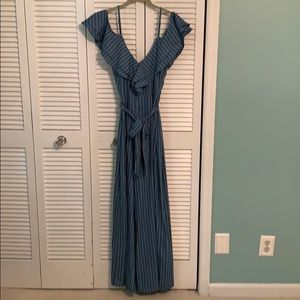Flirty blue with white pinstriped jumper